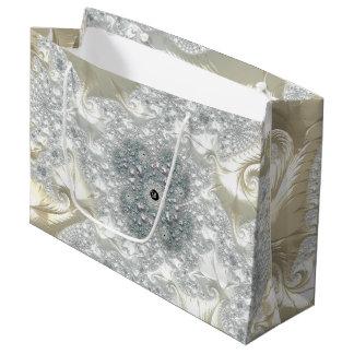 Fancy Elegant Fractals With Cool Mandala Patterns Large Gift Bag