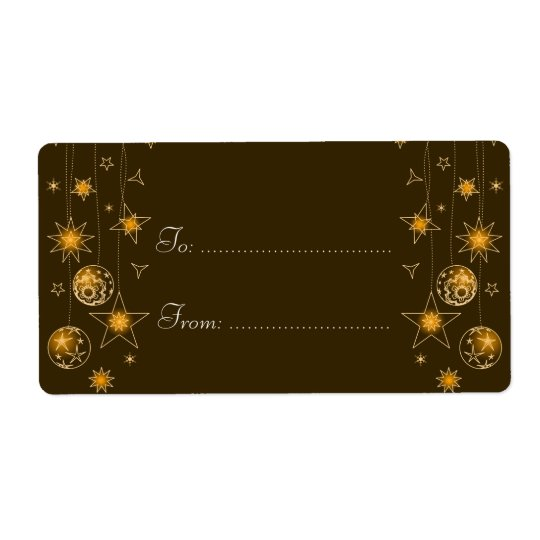 Fancy Elegant Gold Yellow Christmas Decoration Tag Shipping Label