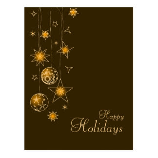 Fancy Elegant Gold Yellow Christmas Decorations Postcard