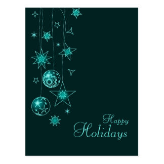 Fancy Elegant Turquoise Christmas Decorations Post Card