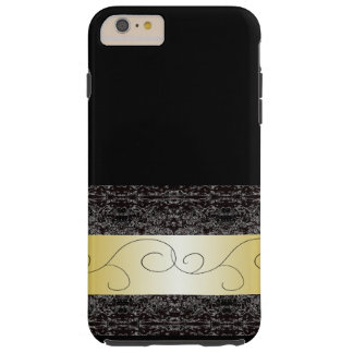 Fancy Fashion Black Gold Ornate Pretty Tough iPhone 6 Plus Case