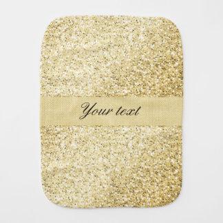 Fancy Faux Gold Glitter Personalized Baby Burp Cloths