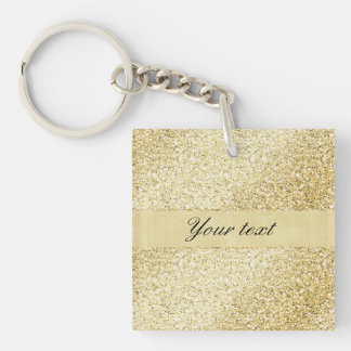 Fancy Faux Gold Glitter Personalized Double-Sided Square Acrylic Keychain