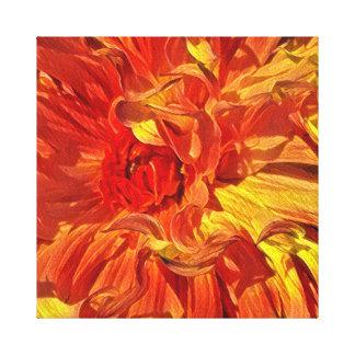 Fancy Fiery Orange Dahlia Canvas Print