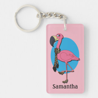 Fancy Flamingo Rectangle (double-sided) Keychain
