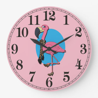 Fancy Flamingo Round (Large) Wall Clock