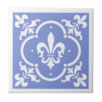 Fancy Fleur De Lis Blue Tile