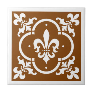 Fancy Fleur De Lis Brown Tile