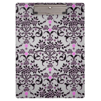 Fancy Floral Damask Black Purple Silvery White Clipboard