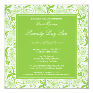 Fancy Floral Grand Opening Invitation (green)