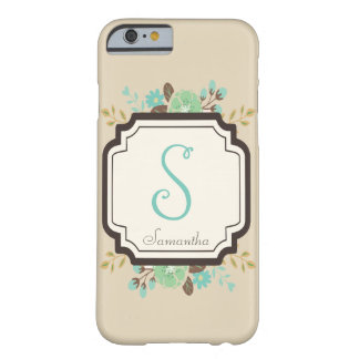 Fancy Floral Monogram and Custom Name Barely There iPhone 6 Case