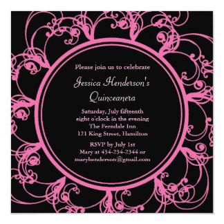 Fancy Floral Quinceanera Invite (black)