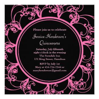 Fancy Floral Quinceanera Invite black