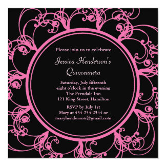 """Fancy Floral Quinceanera Invite (black) 5.25"""" Square Invitation Card"""
