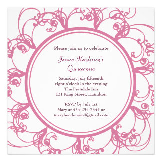 Fancy Floral Quinceanera Invite pink