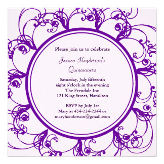 Fancy Floral Quinceanera Invite purple