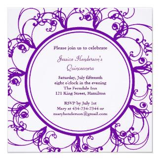 Fancy Floral Quinceanera Invite (purple)
