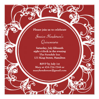 Fancy Floral Quinceanera Invite red