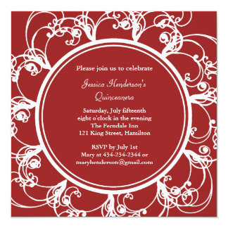 Fancy Floral Quinceanera Invite (red)