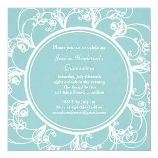 Fancy Floral Quinceanera Invite (turquoise)