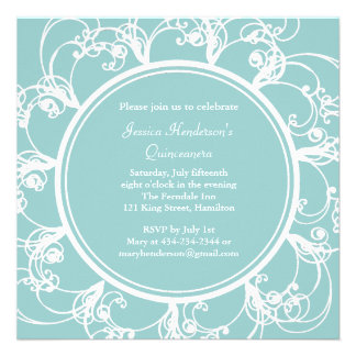 Fancy Floral Quinceanera Invite turquoise
