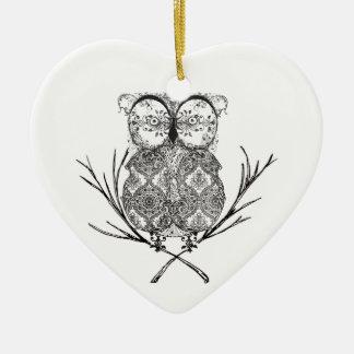 Fancy Flourish Owl Black and White Ceramic Ornament