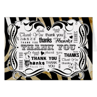 Fancy Flourishes and Zebra Chalkboard Text Thank Y Card