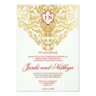 "Fancy Flourishes Golden Indian Arabic Wedding 5"" X 7"" Invitation Card"