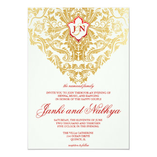 Fancy Flourishes Golden Indian Arabic Wedding 5x7 Paper Invitation Card