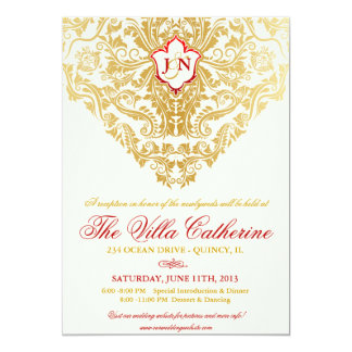 Fancy Flourishes Golden Reception Only Invites