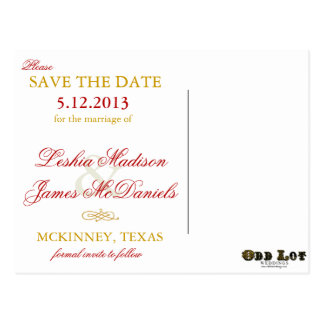 Fancy Flourishes Golden Wedding Save the Dates Postcard