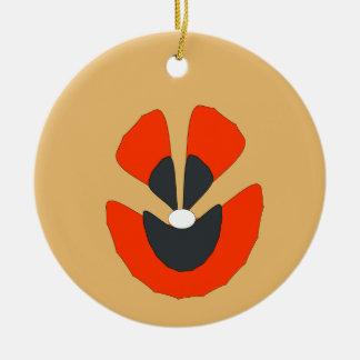 fancy flower round ceramic ornament
