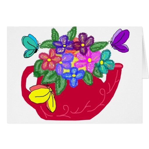 Fancy flowers in tea pot with butterflies card