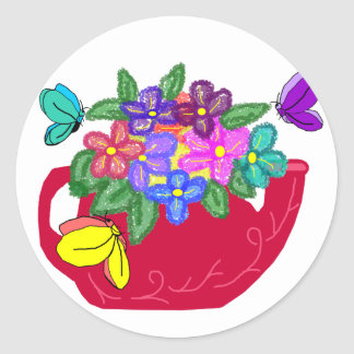 Fancy flowers in tea pot with butterflies stickers