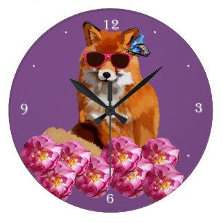 Fancy Fox, Purple Wall Clock