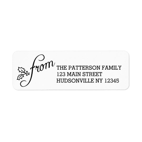 Fancy From Black and White Holly Holiday Return Address Label