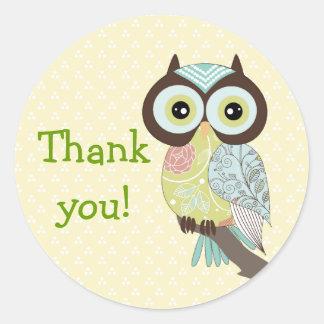 Fancy Funky Owl Thank you Stickers