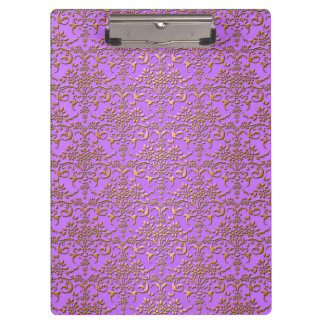 Fancy Gold and Lavender Purple Damask Pattern Clipboard