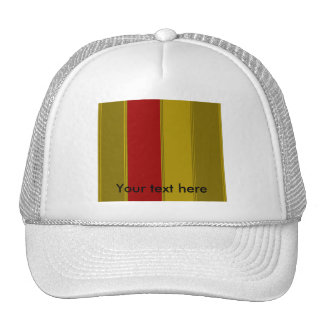 Fancy gold and red stripes trucker hat