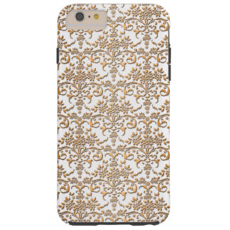 Fancy Gold and White Damask PatternFloral Tough iPhone 6 Plus Case