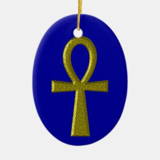 Fancy Gold Ankh Oval Ornament