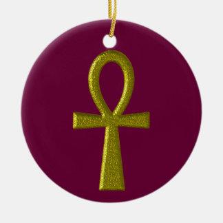 Fancy Gold Ankh Round Ornament