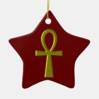 Fancy Gold Ankh Star Ornament