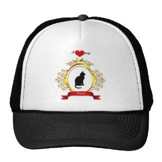 Fancy Gold Frame Red Heart Ribbon Cat Silhouette Trucker Hat