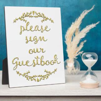 Fancy Gold Glitter Guestbook Sign Plaque