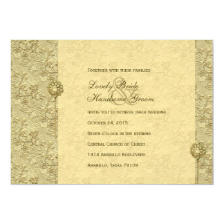 Fancy Gold Vintage Brocade Wedding Invitations