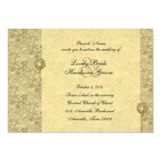 Fancy Gold Vintage Brocade Wedding Invitations