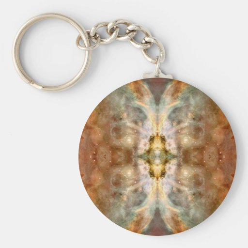 Fancy Golden Butterfly Space Art Keychain