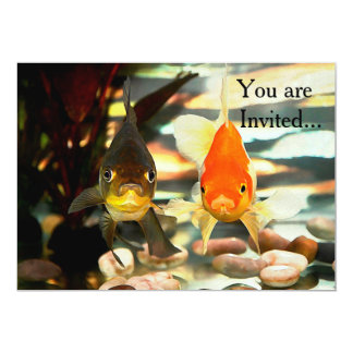 Fancy Goldfish Faces Watercolor Image Card
