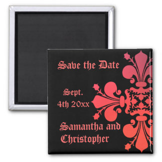 Fancy Goth fleur de lys damask save the date Magnet